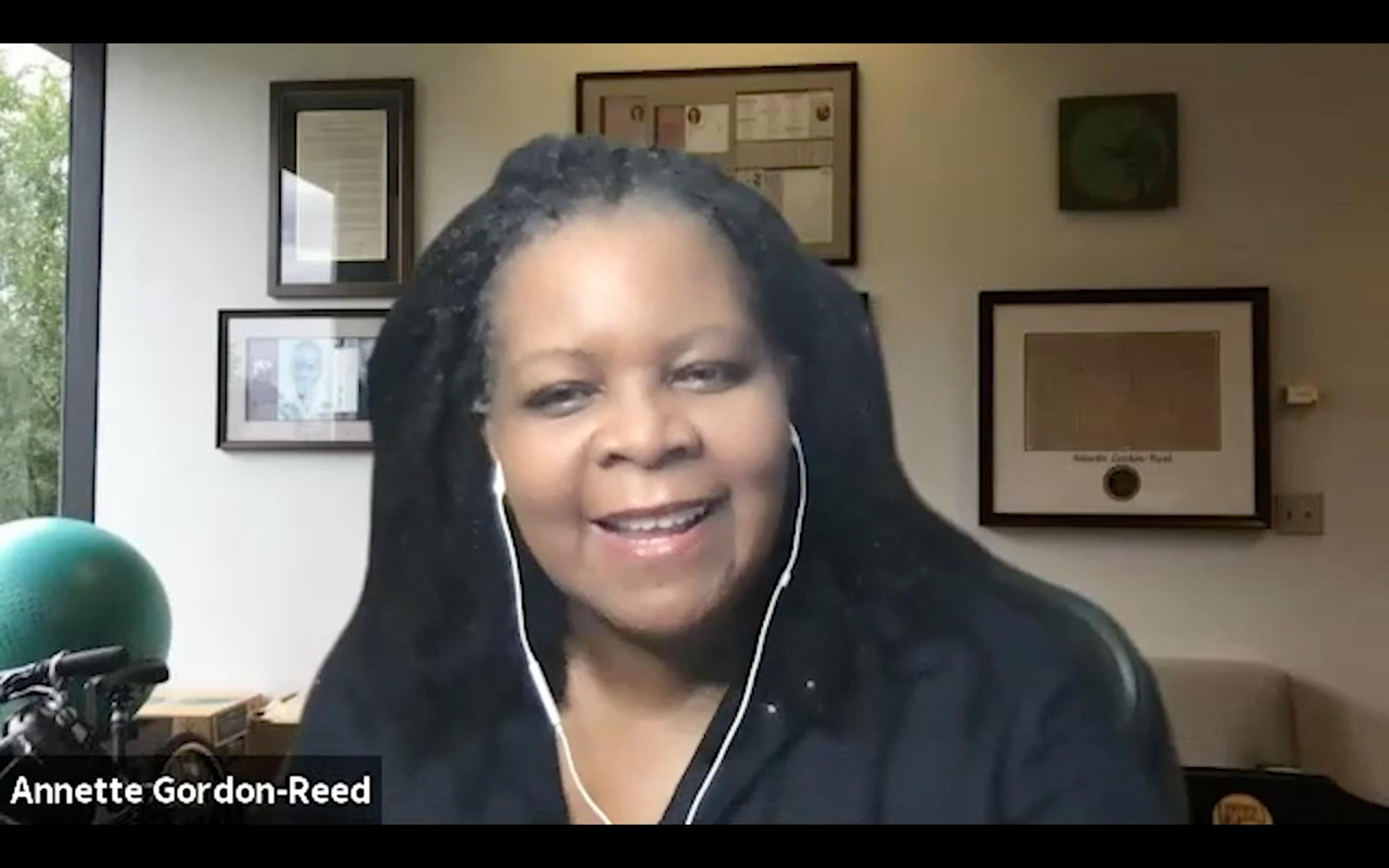 Screen Capture: Annette Gordon-Reed Zoom Keynote