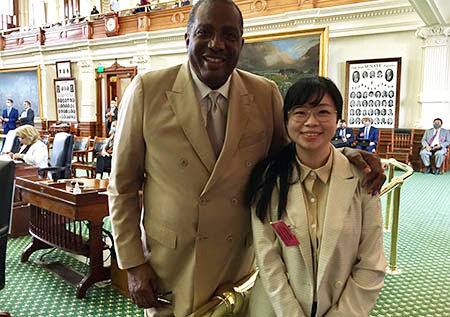 Shu-Ching Tseng with State Sen. Royce West (D-23) at the Texas Capitol
