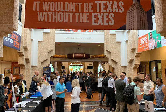 LBJ students attend a Texas Exes job fair event