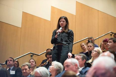 LBJ School student poses question to Rex Tillerson