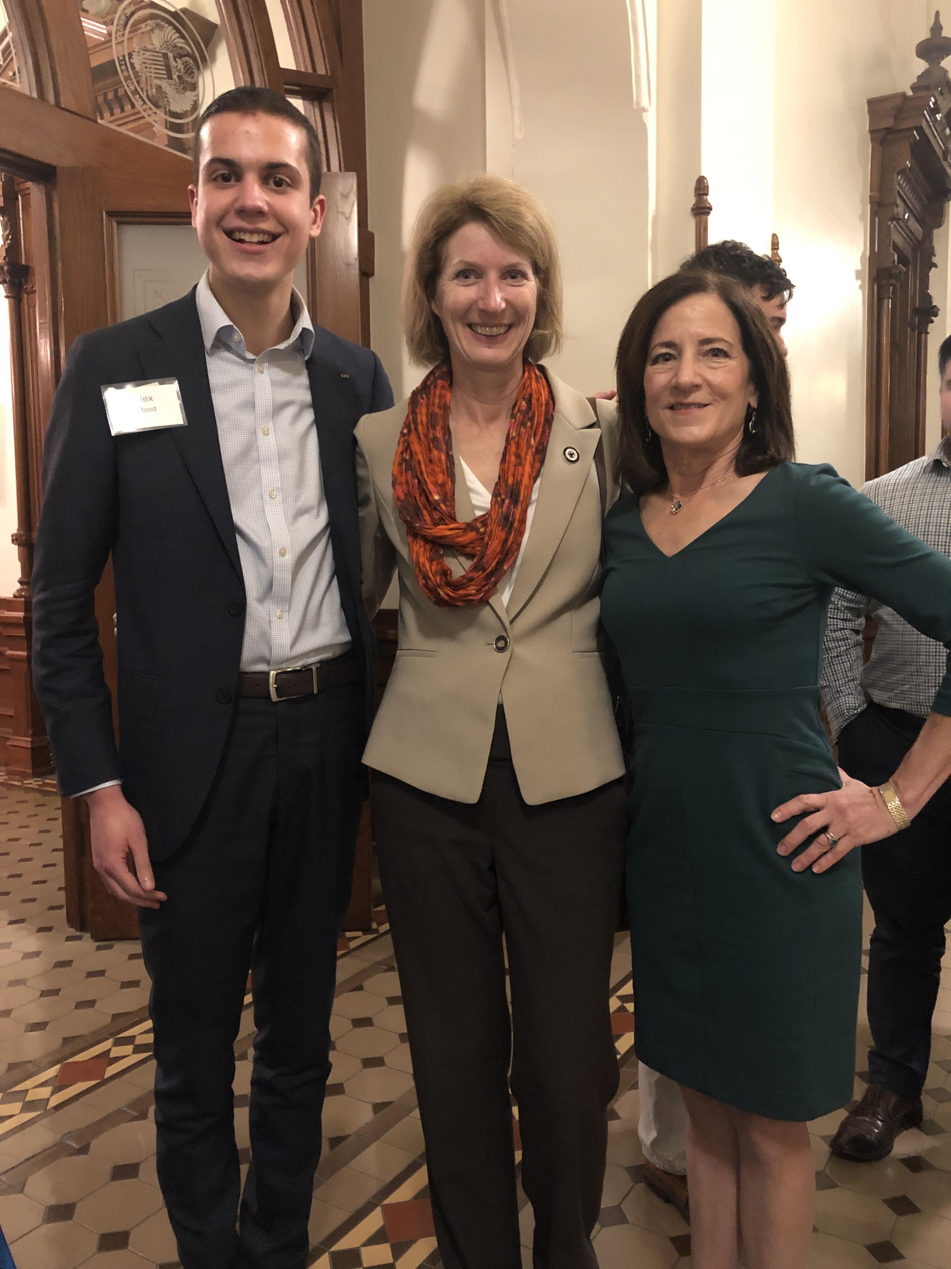 LBJ student Alex Meed with state Rep. Vikki Goodwin (MPAff '91) and LBJ Professor Sherri Greenberg