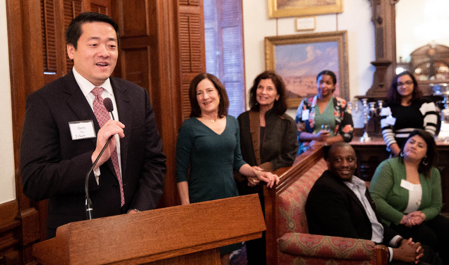 State Rep. Gene Wu (MPAff '04), a Democrat who represents Texas's 137th House District, speaks to Under the Domeaudience, including Professor Sherri Greenberg and LBJ School Dean Angela Evans