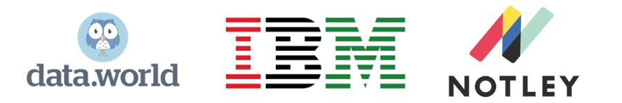 Sponsor Logos: Data.world, IBM, Notley