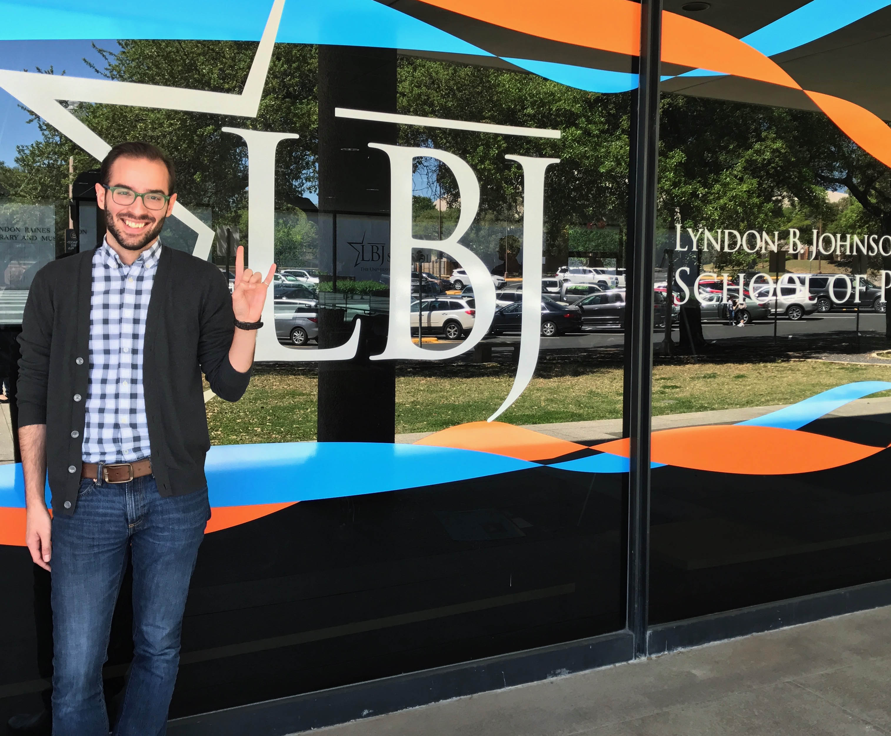 LBJ student Wayne Holstine (MPAff '19) on his first day of grad school