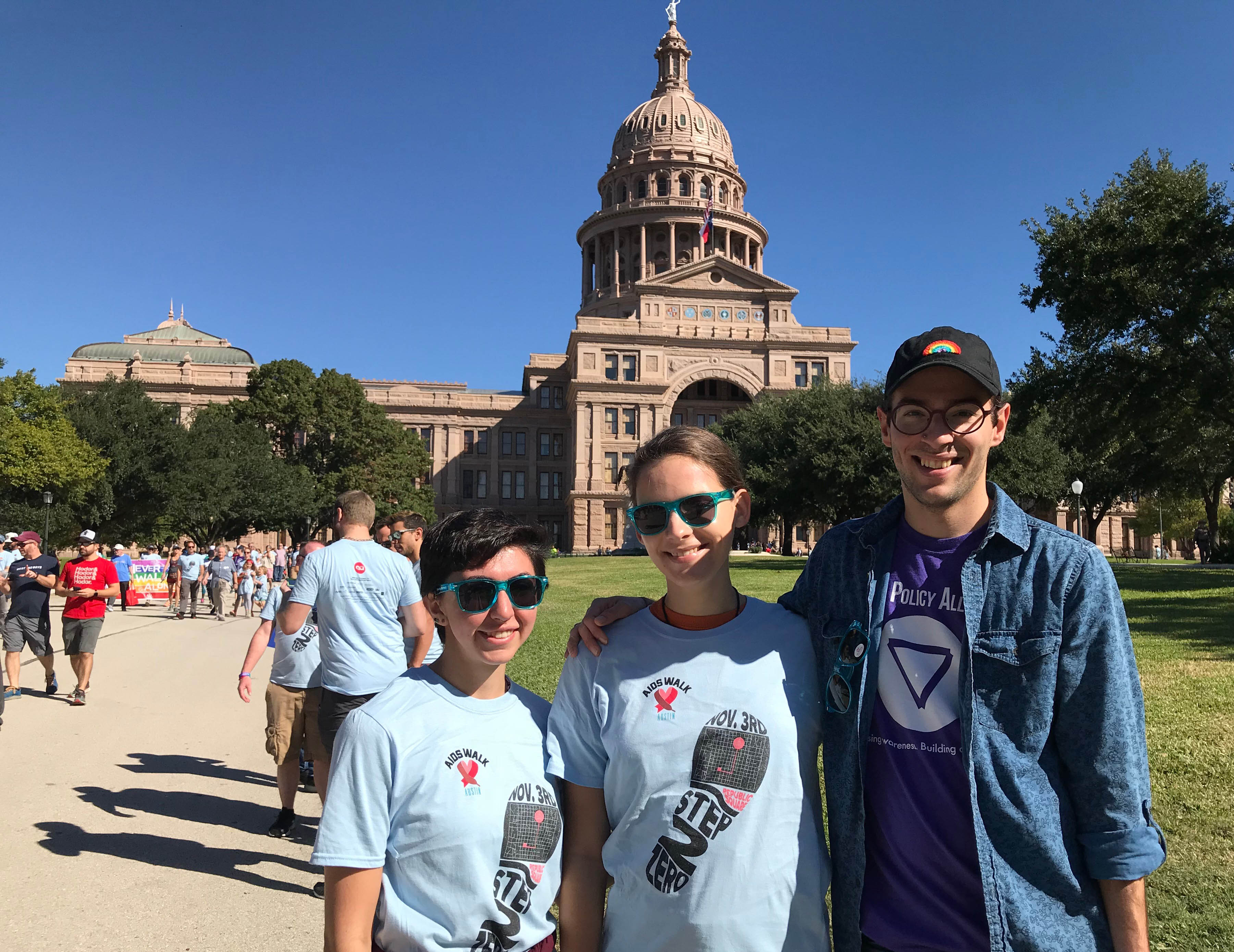 LBJ student Wayne Holstine (MPAff '19) and some of his friends at the AIDS Walk in Austin