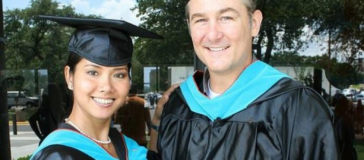 Wes (right) and Savin Ven Johnson (MGPS '12) graduating from the LBJ School