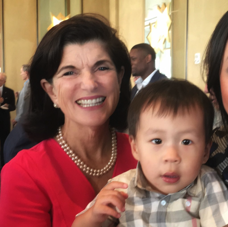 Lyndon, the nephew of Texas State Rep. Gene Wu (MPAff '04), with Luci Baines Johnson in Houston for the LBJ monument launch