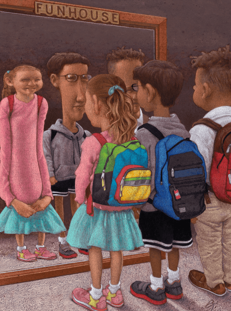 Illustration of young schoolchildren for Education Next by Chris Payne