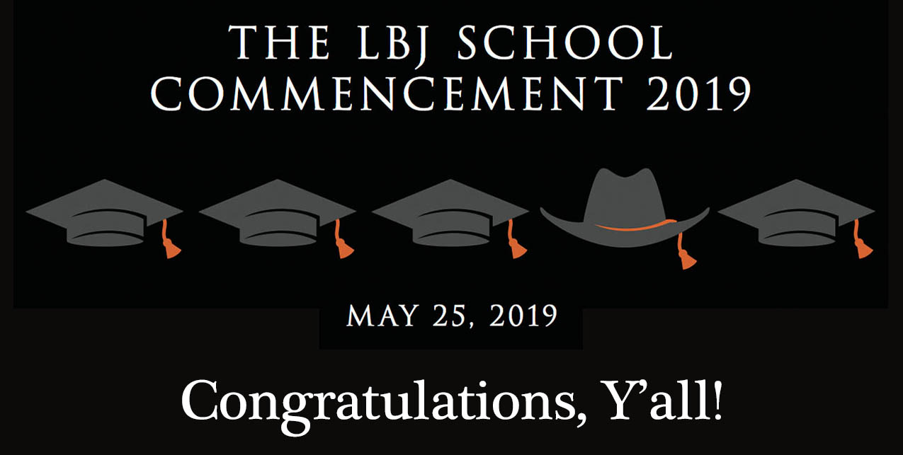 2019 LBJ School Commencement Program image of mortarboards and cowboy hat