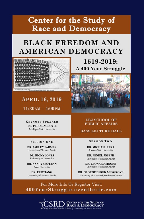 Poster with event details and photos of a slave ship and President Obama and The First Family joining John Lewis walking across the Edmund Pettus Bridge in Selma, Alabama