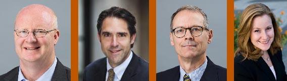LBJ School Professors Will Inboden, Robert Chesney, Stephen Slick and Kate Weaver
