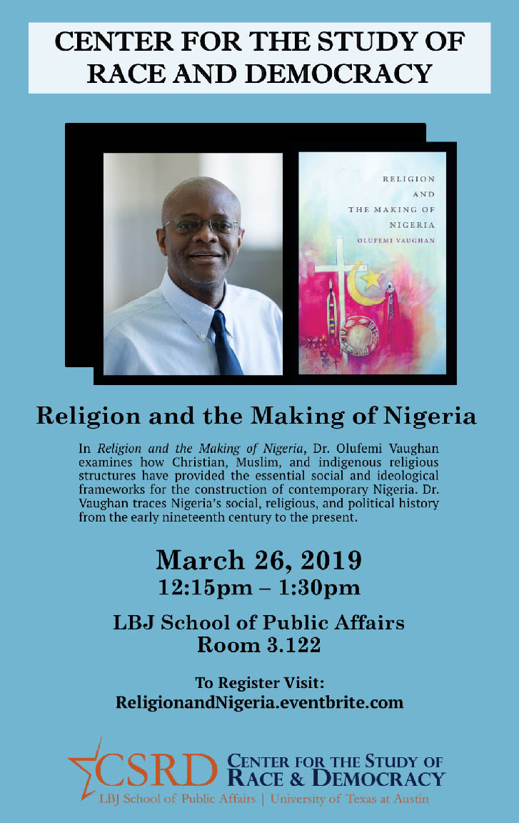 CSRD poster for event, Religion and the Making of Nigeria, with Dr. Olufemi Vaughan