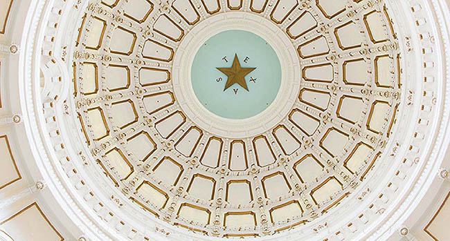 Inside the dome of the Texas Capitol