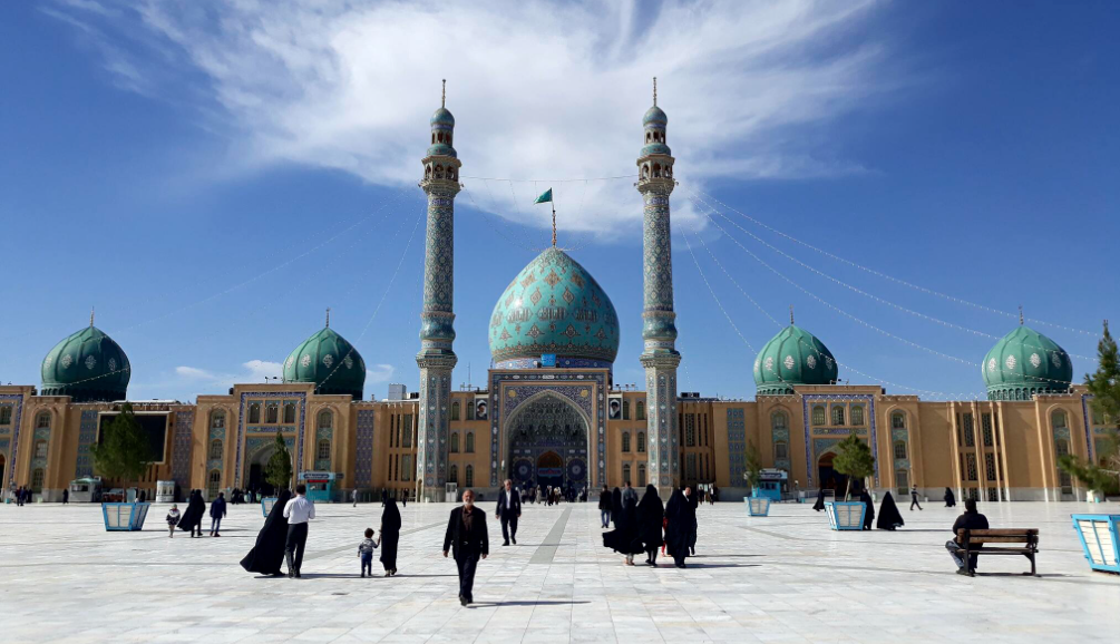 A mosque complex in Iran with turquoise-colored domes
