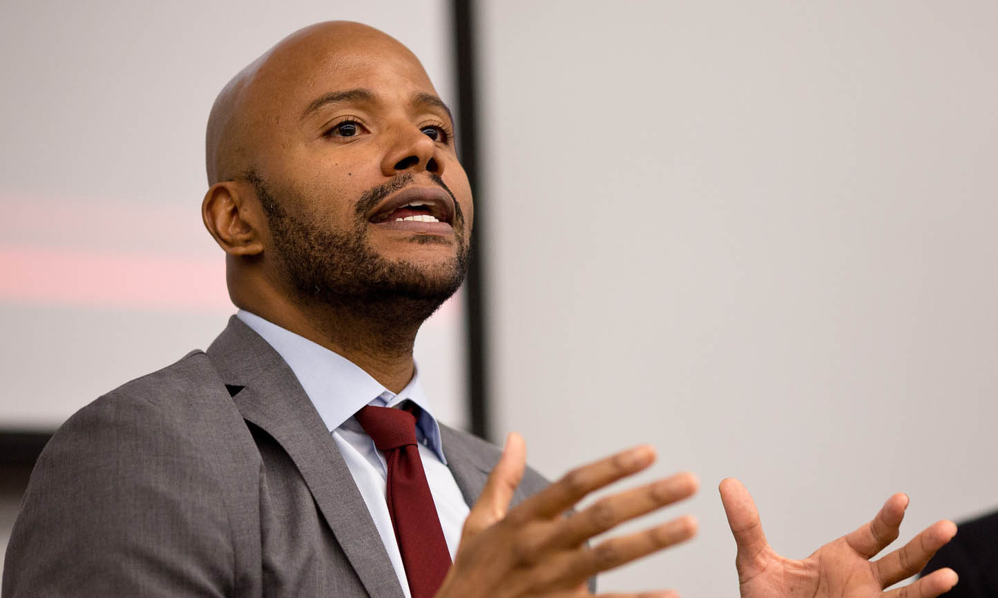 The LBJ School's Dr. Peniel Joseph during the Kerner Commission event on March 5, 2018