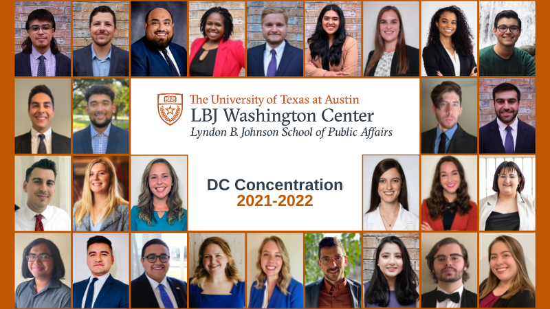 Collage of 28 headshots with the LBJ Washington Center logo. text: DC Concentration 2021-2022
