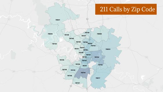 Graphic showing 211 calls by Austin area code