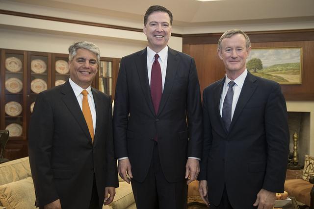 UT President Greg Fenves, FBI Director James Comey and UT System Chancellor Admiral Bill McRaven