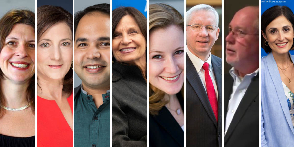 LBJ Professors Jenny Knowles Morrison, Sherri Greenberg, Varun Rai, Dean Angela Evans, Kate Weaver, Don Kettl, Bill Shute and Victoria DeFrancesco Soto