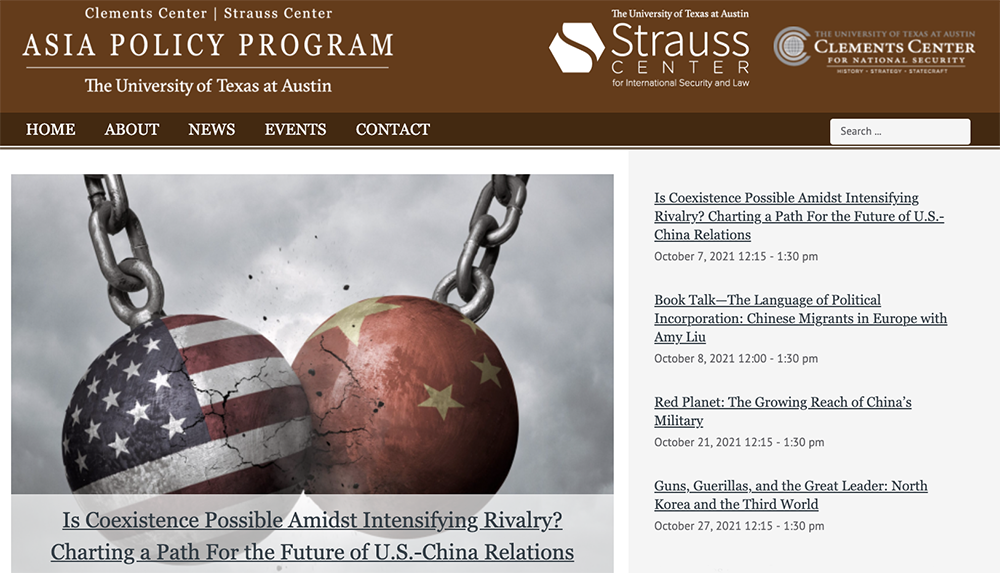 Homepage of the Asia Policy Program website