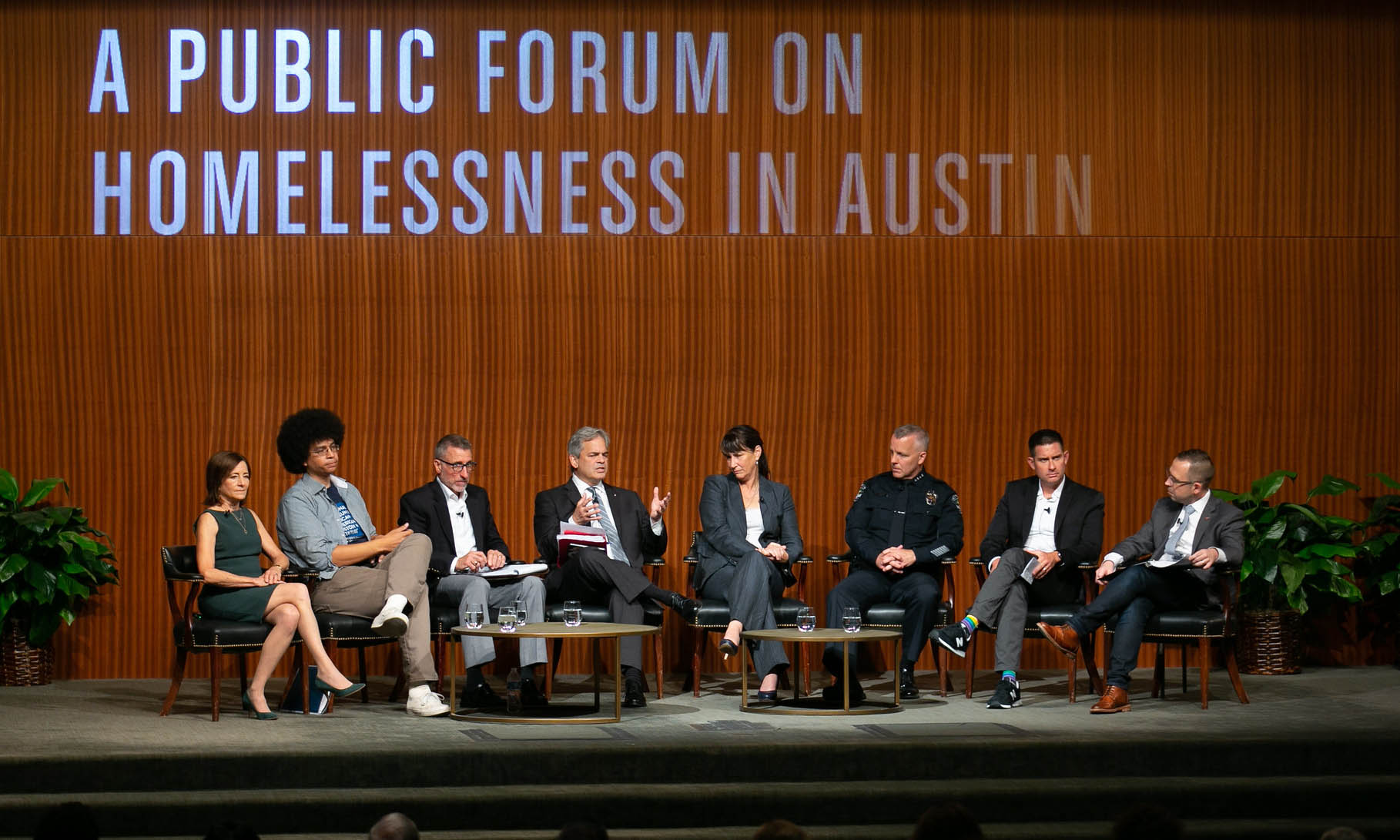 The panel at the Public Forum on Homelessness in Austin in the LBJ Auditorium on Aug. 29, 2019