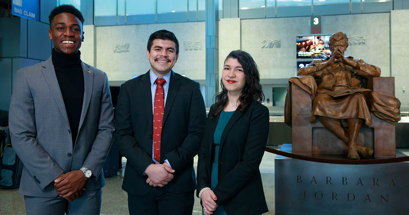 LBJ students Joel Carter, Aaron Escajeda and Sarah Gonzalez Claytor, the co-chairs of the 23rd Barbara Jordan National Forum