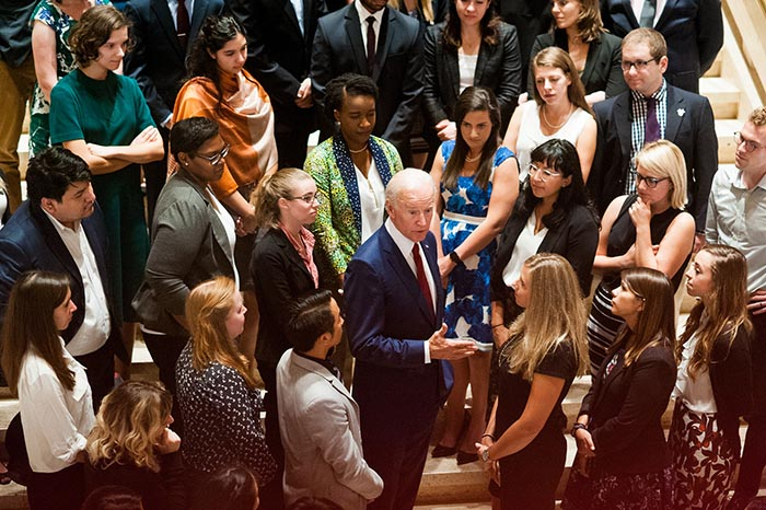 Former Vice President Joe Biden visits with LBJ students at the LBJ Presidential Library