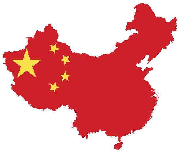 Map of China with flag overlay