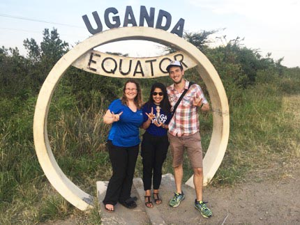 Crook Fellow Kathleen Whitton at the Uganda equator