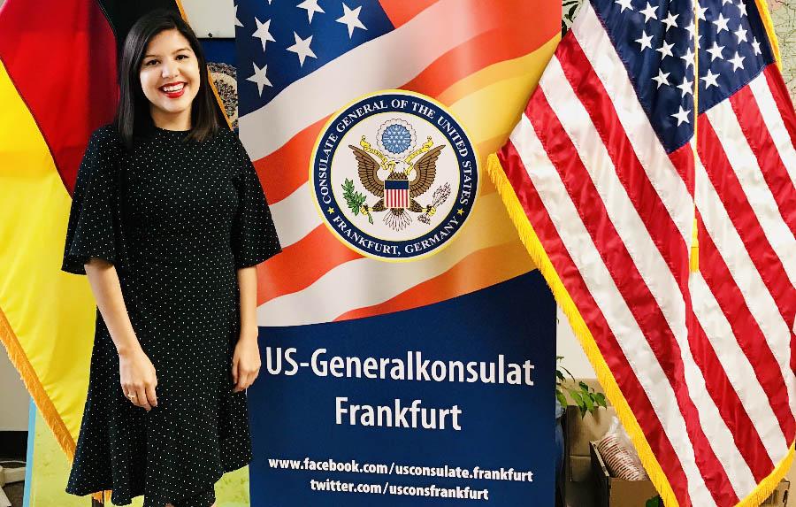 LBJ MGPS student Elisa Santana at her summer 2019 internship at the U.S. Consulate in Frankfurt, Germany