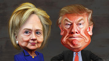 Caricatures of Hillary Clinton and Donald Trump