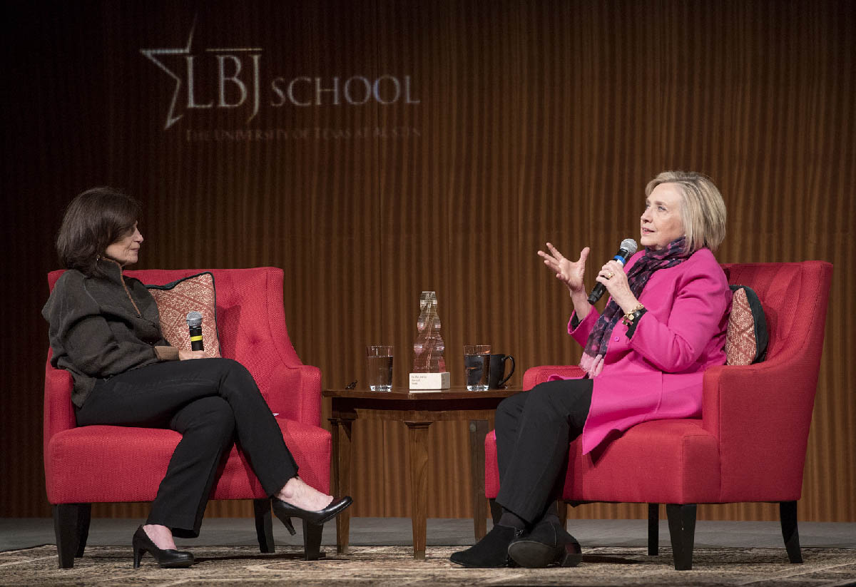LBJ School Dean Angela Evans and Hillary Rodham Clinton at the inaugural IN THE ARENA award ceremony