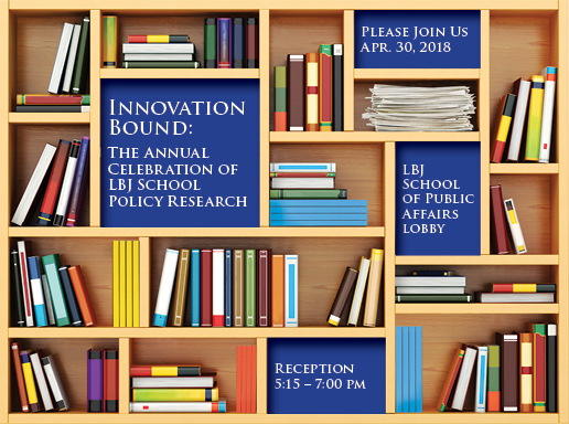 Key art of bookshelves and books illustrating INNOVATION BOUND 2018