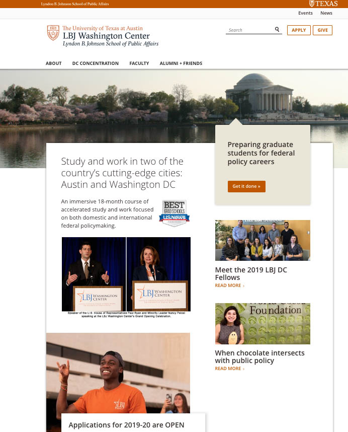 The home page of the new LBJ Washington Center website