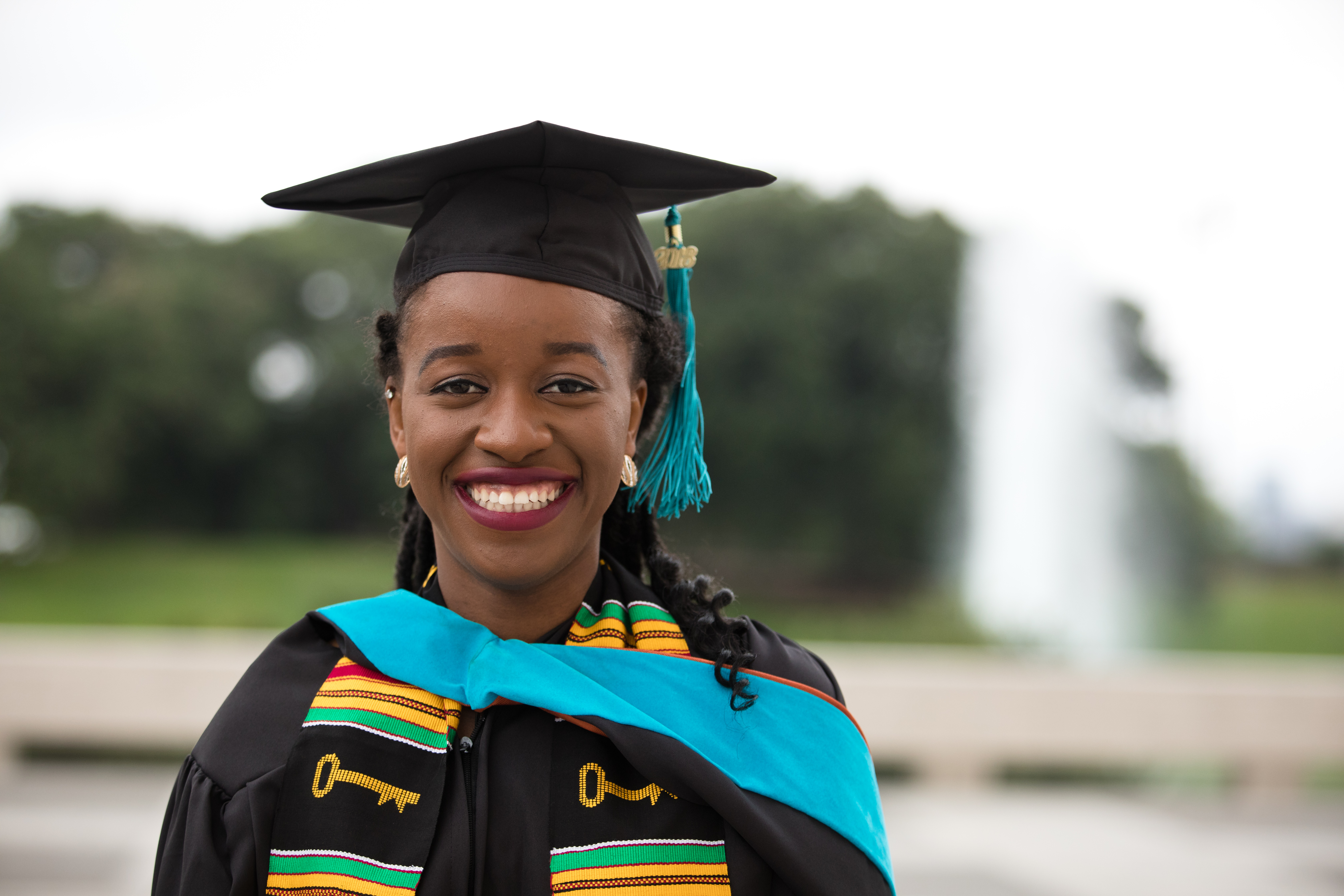 LBJ student Amara Uyanna (MGPS '18) on commencement day