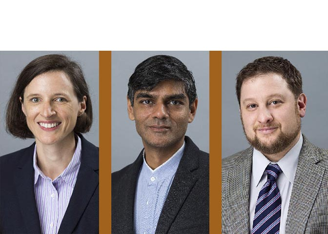 LBJ Professors Erin Lentz, Rajeev Patel and Joshua Eisenman