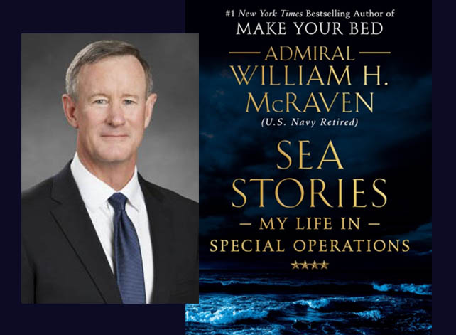 Adm. William McRaven and the cover of his book, Sea Stories