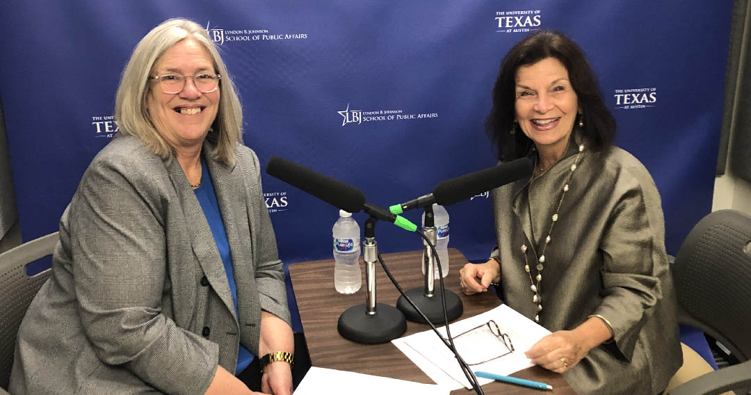 Sue Gordon, Principal Deputy Director of National Intelligence, with LBJ School Dean Angela Evans during the podcast
