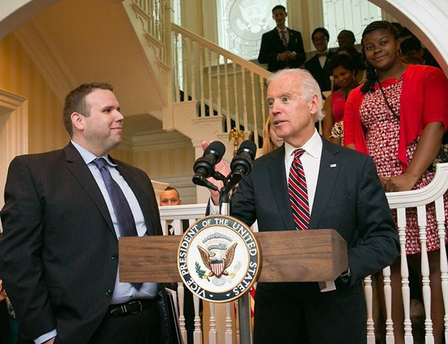 Alumnus Matthew Randazzo with then-Vice President Joe Biden