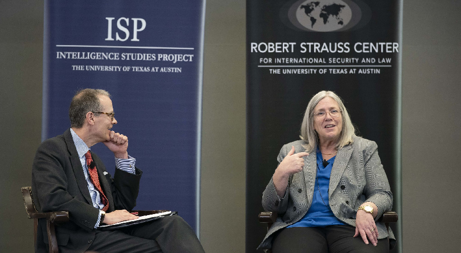 LBJ's Steve Slick with Deputy DNI Susan Gordon at ISP's Intelligence in Transition symposium, March 28, 2019