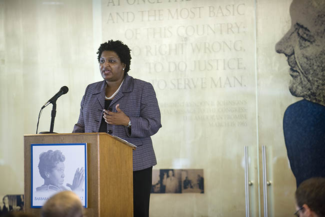 Stacey Abrams (MPAff '98) delivers the 16th Annual Barbara Jordan National Forum Keynote in February 2012