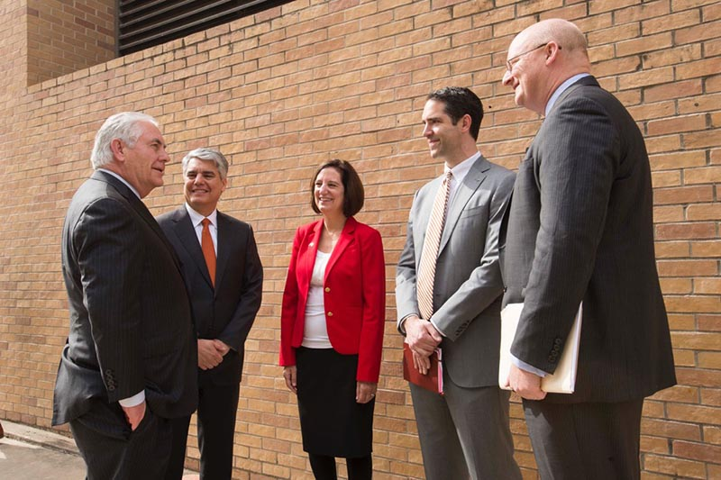 UT President Greg Fenves and LBJ School faculty welcome Secretary of State Rex Tillerson to campus