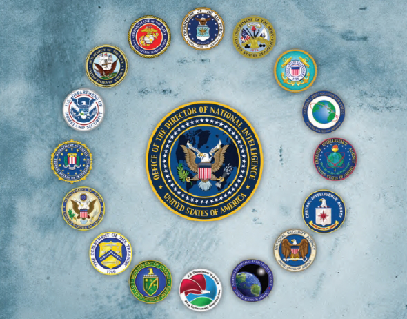 Insignia from various agencies in the U.S. intelligence community