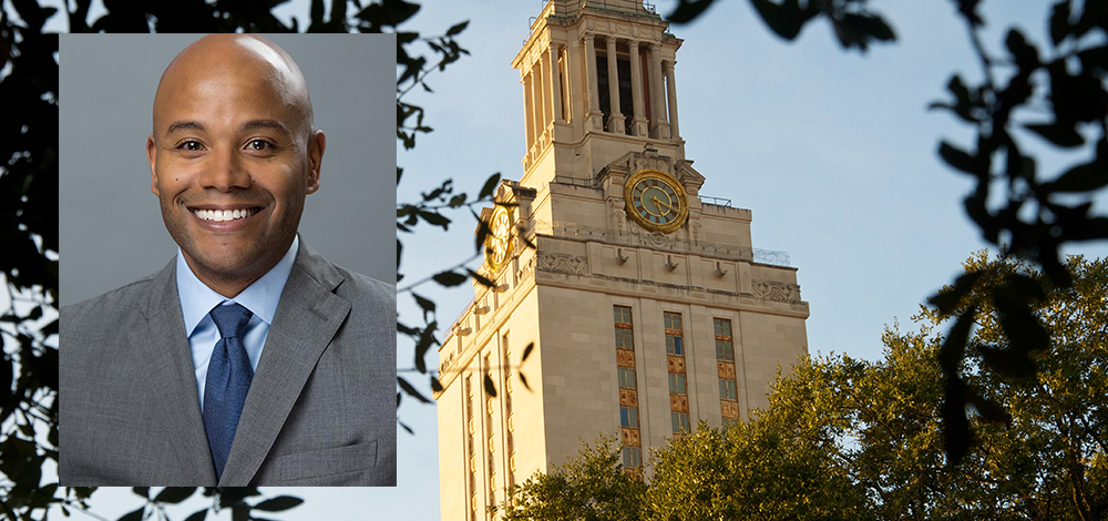 A view of the UT Tower and LBJ Professor and CSRD Director Peniel Joseph