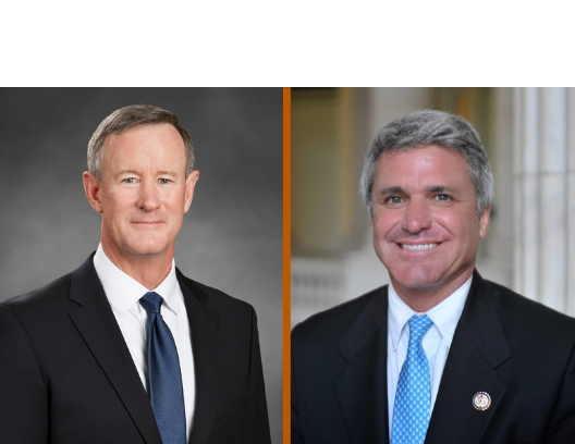 Admiral William McRaven in a dark suit next to Congressman McCaul, also in a dark suit