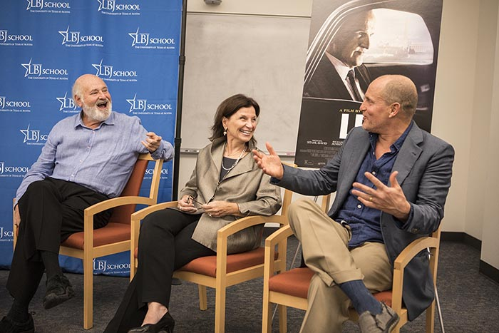 Director Rob Reiner, LBJ School Dean Angela Evans and Woody Harrelson during the LBJ film screening