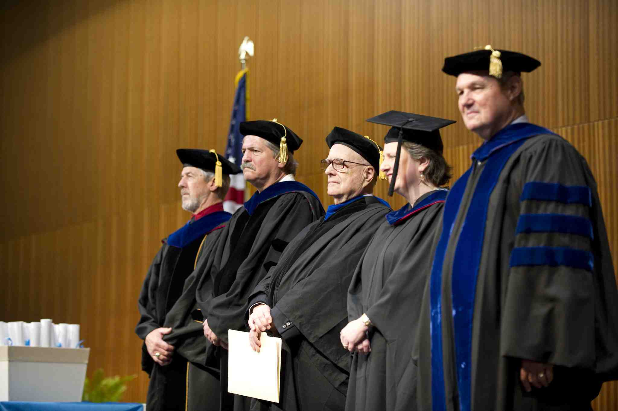 (L to R) Senior Lecturer Kenneth Matwiczak, Associate Dean Chandler Stolp, Professor Robert Auerbach, Deputy Secretary Kathleen Merrigan, and Dean Robert Hutchings