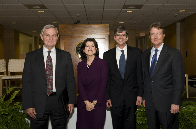 Robert Hutchings, dean of the LBJ School, Luci Baines Johnson, James B. Steinberg, former dean of the LBJ School, William C. Powers, Jr., president of The University of Texas at Austin