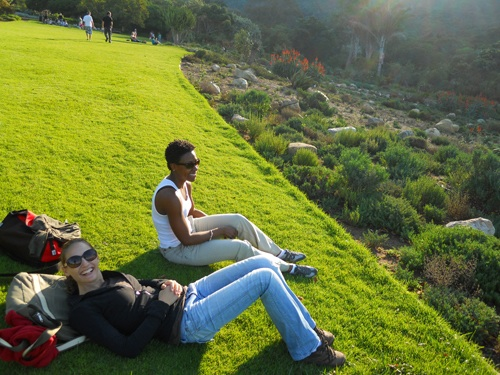 Anya Cherkasova and Lauren Flemister relaxing for an afternoon in the Kirstenbosch Botanical Garden -- one of the great botanical gardens in the world, only a few miles from the University of Cape Town.