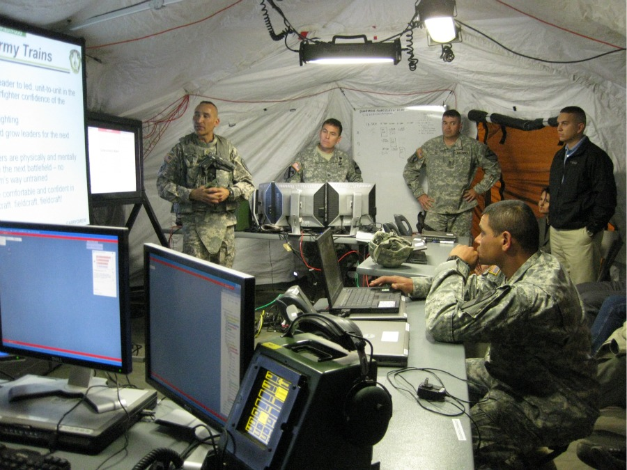 Inside a mobile command center during training